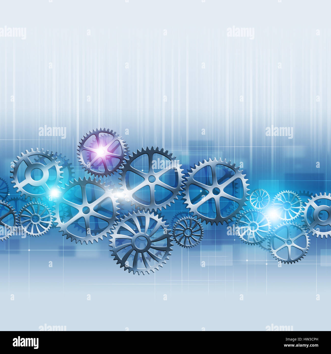 abstract business motion gears concept blue background - Stock Image