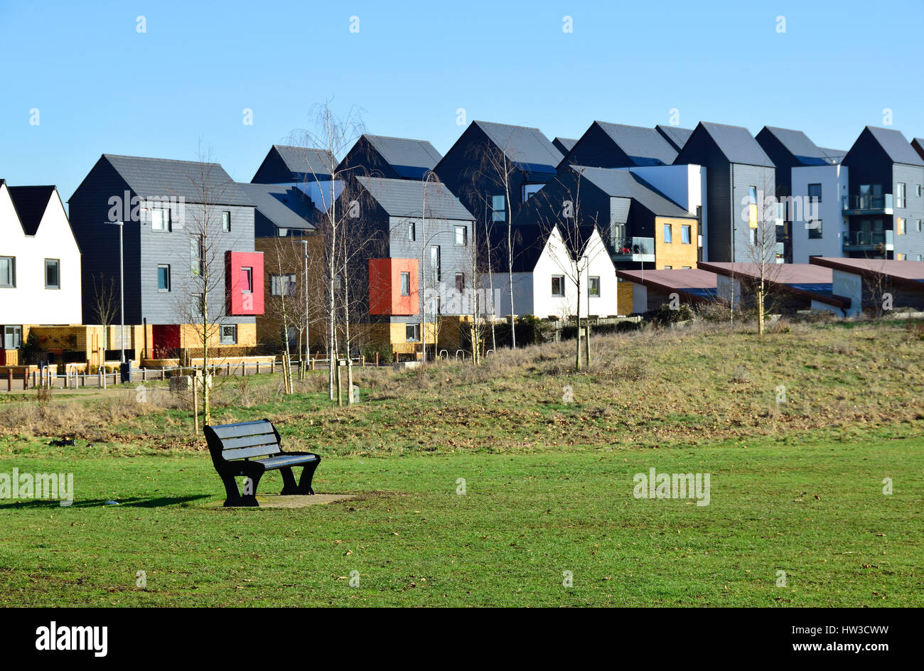 Maidstone, Kent, UK. New houses on the Park Wood Estate, between Maidstone and Boughton Monchelsea. Wallis Fields - Stock Image