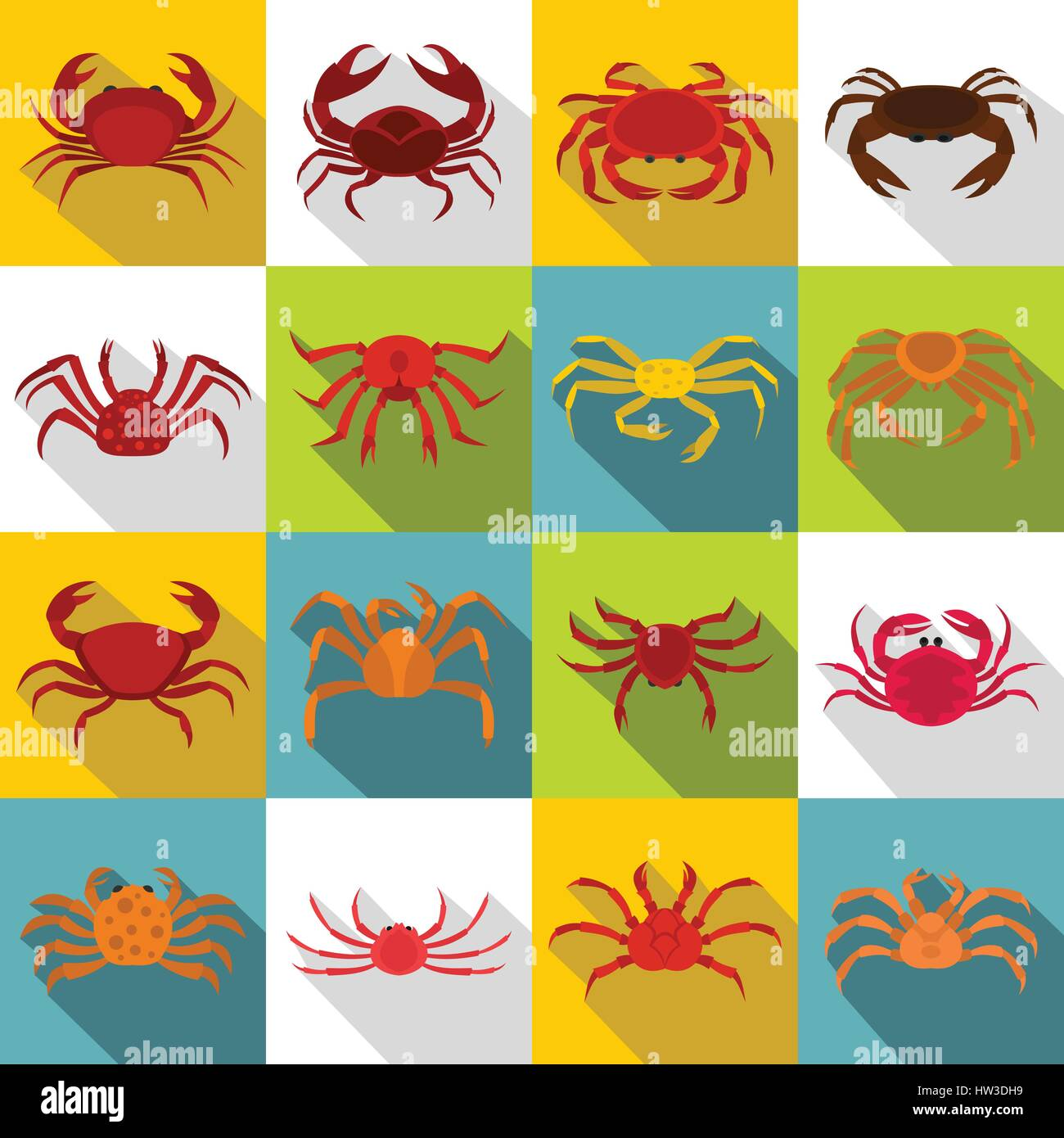 Various crab icons set, flat style - Stock Vector