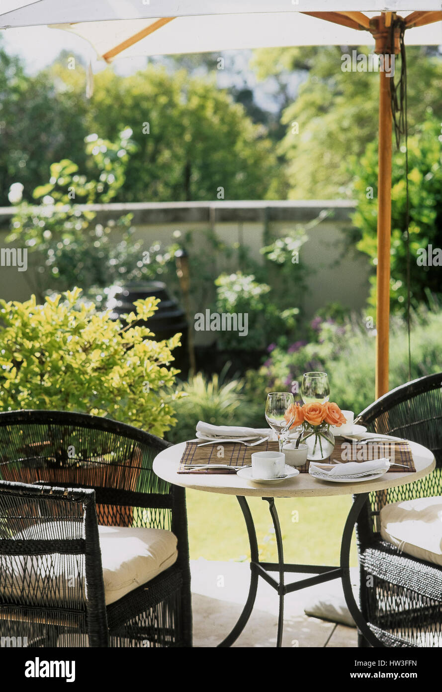 Outdoor furniture on deck. - Stock Image