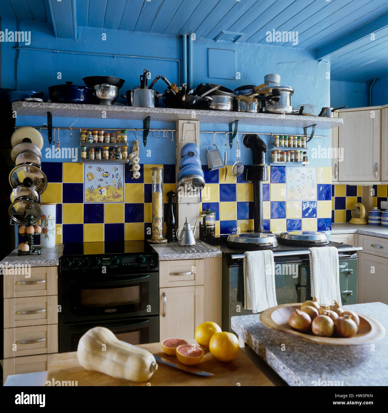 Kitchen with painted beams. - Stock Image