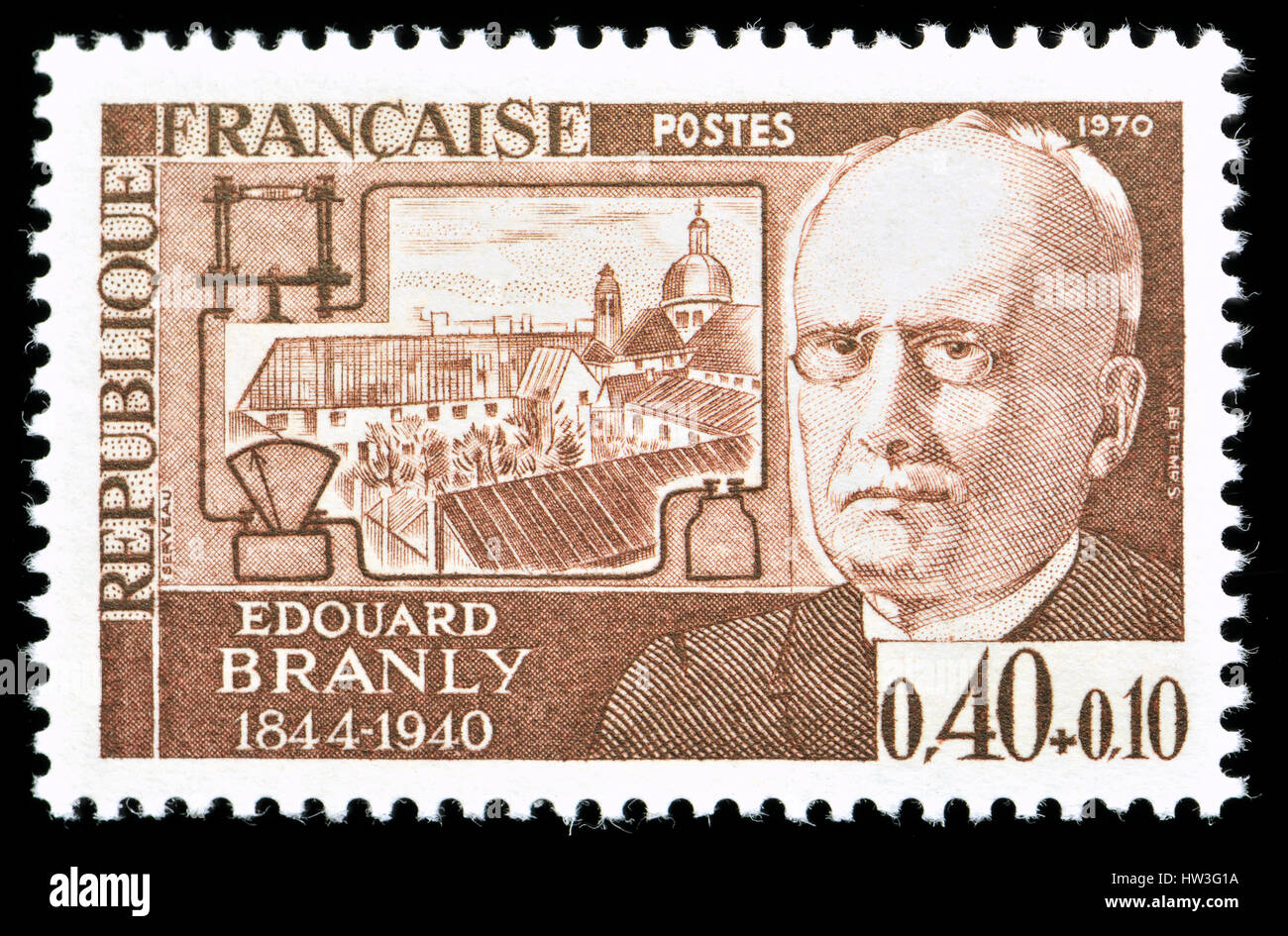 French postage stamp (1970) : Édouard Eugène Désiré Branly (1844 – 1940) French inventor, physicist - Stock Image