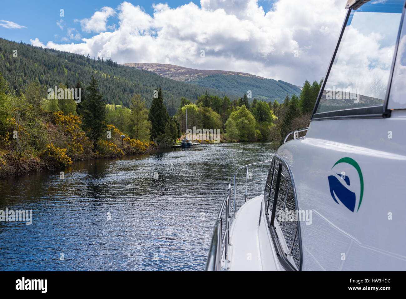 Caledonian Canal, Highlands, Scotland, UK. Approaching Laggan Avenue. Stock Photo