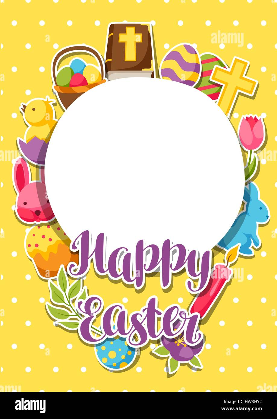 Happy Easter frame with decorative objects, eggs and bunnies ...
