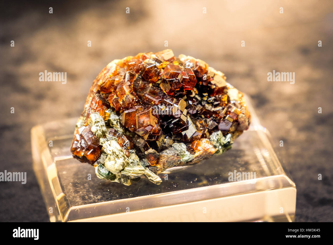 grossular hessonite mineral orange quartz gemstone - Stock Image