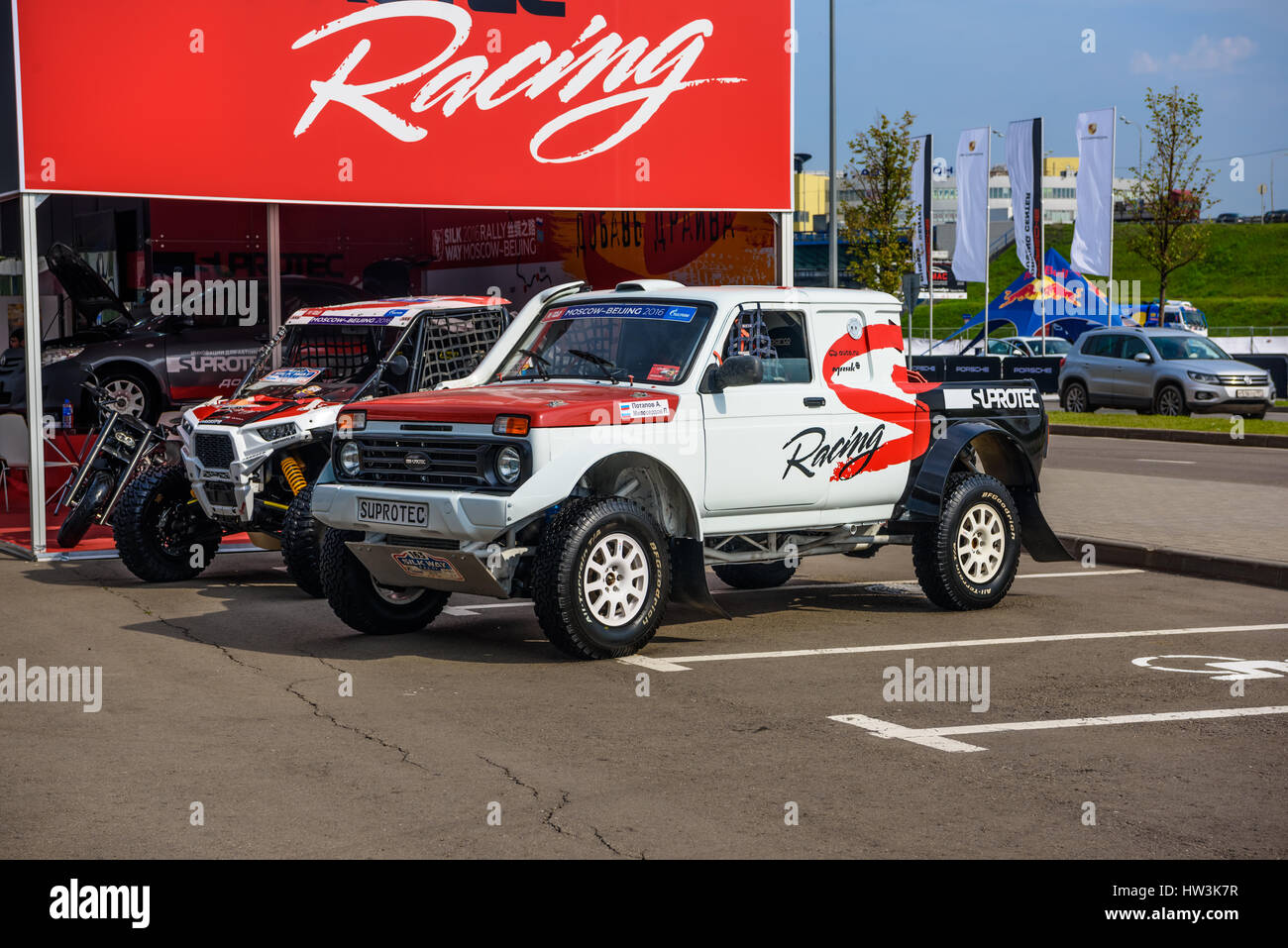 MOSCOW - AUG 2016: VAZ-2329 LADA 4x4 Pickup presented at MIAS Moscow  International Automobile Salon on August 20, 2016 in Moscow, Russia