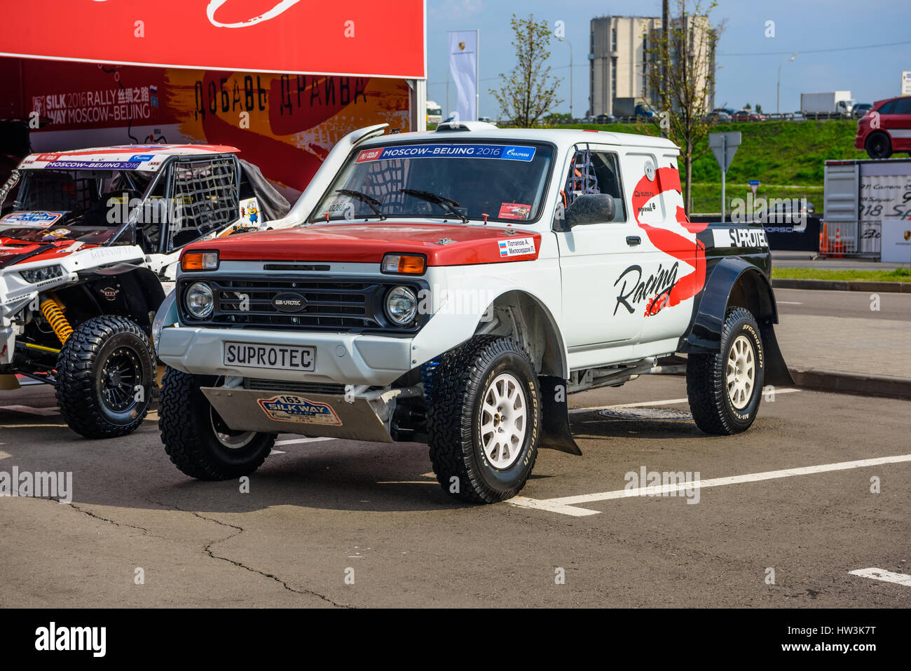 MOSCOW - AUG 2016: VAZ-2329 LADA 4x4 Pickup presented at MIAS Moscow  International Automobile Salon on August 20, 2016 in Moscow, Russia.