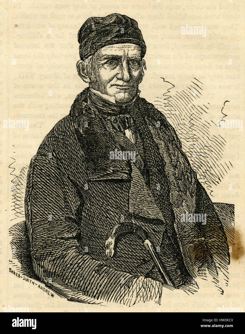 Antique 1854 engraving, 'The Late Amos Lawrence.' Amos Lawrence (1786-1852) was an American merchant and - Stock Image