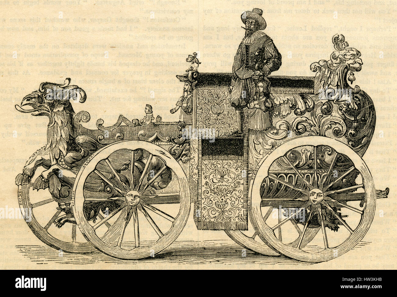 Antique 1854 engraving, 'A German Carriage of the Sixteenth Century.' SOURCE: ORIGINAL ENGRAVING. - Stock Image