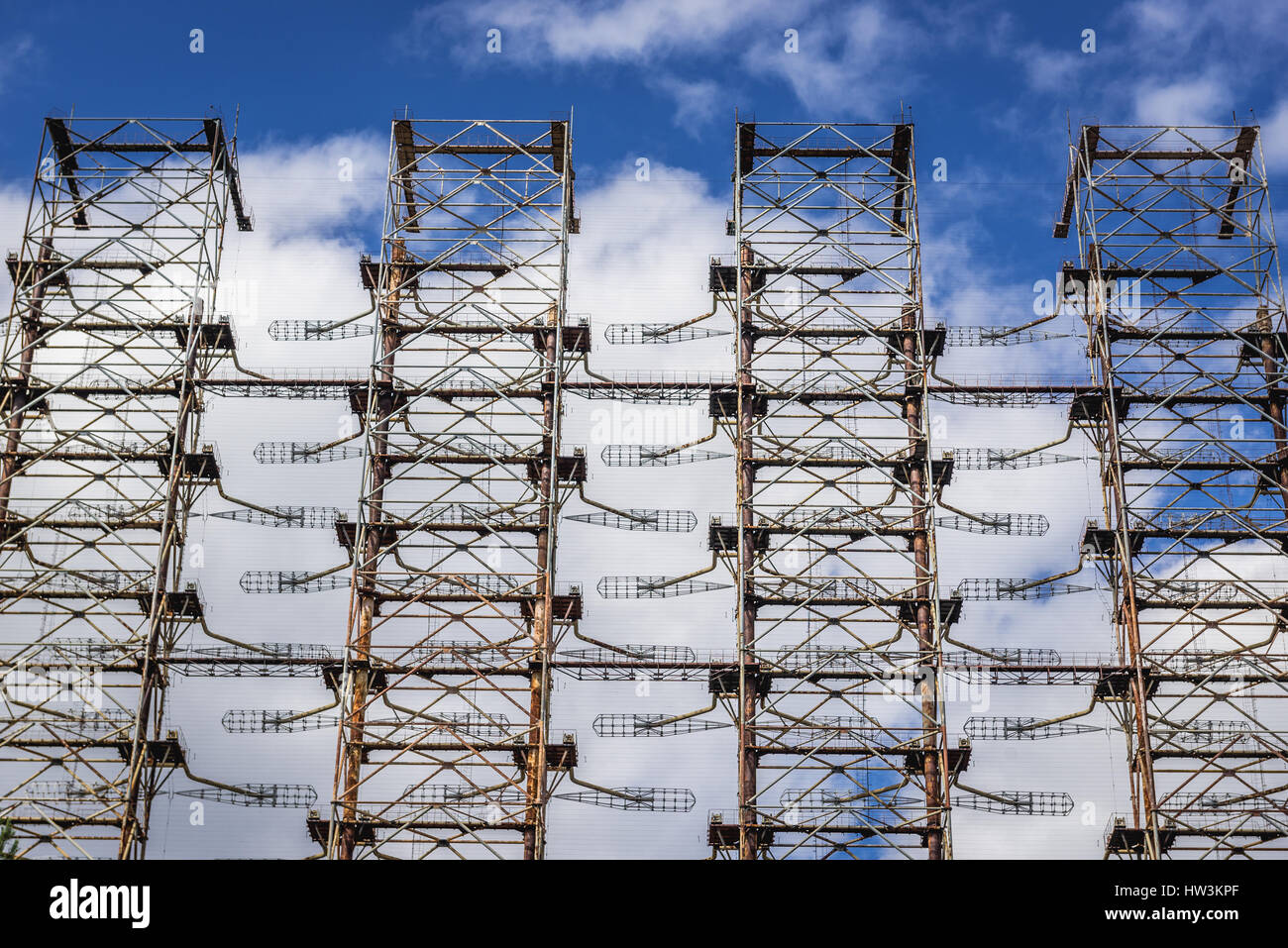 Old Soviet radar system called Duga near Cherobyl town in Chernobyl Nuclear Power Plant Zone of Alienation around - Stock Image