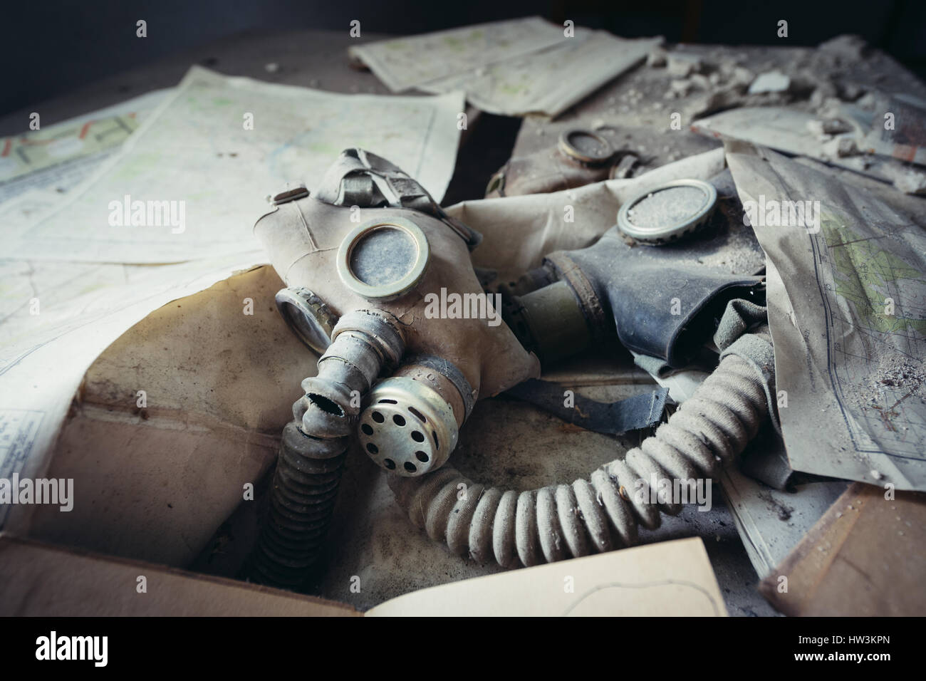 Gas mask in secondary school in Mashevo abandoned village of Chernobyl Nuclear Power Plant Zone of Alienation around - Stock Image