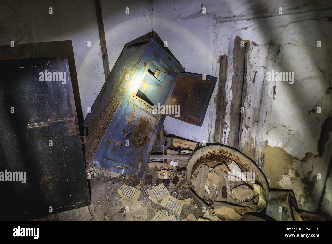 Old safe in Post Office in Krasne abandoned villages of Chernobyl Nuclear Power Plant Zone of Alienation around - Stock Image