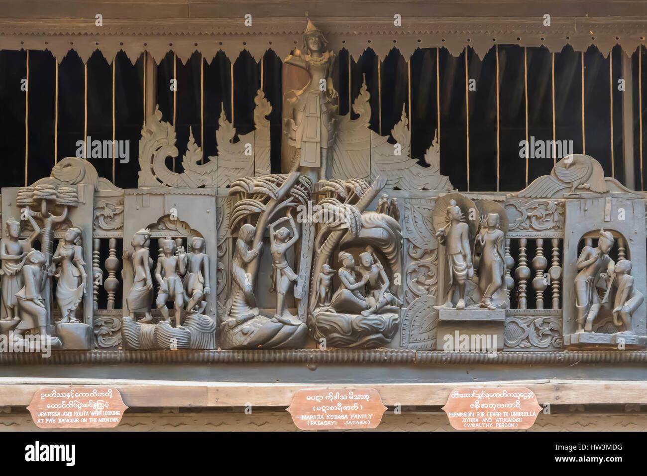 Teak Carving on Yoke Sone Kyaung Monastery, Sale, Myanmar - Stock Image