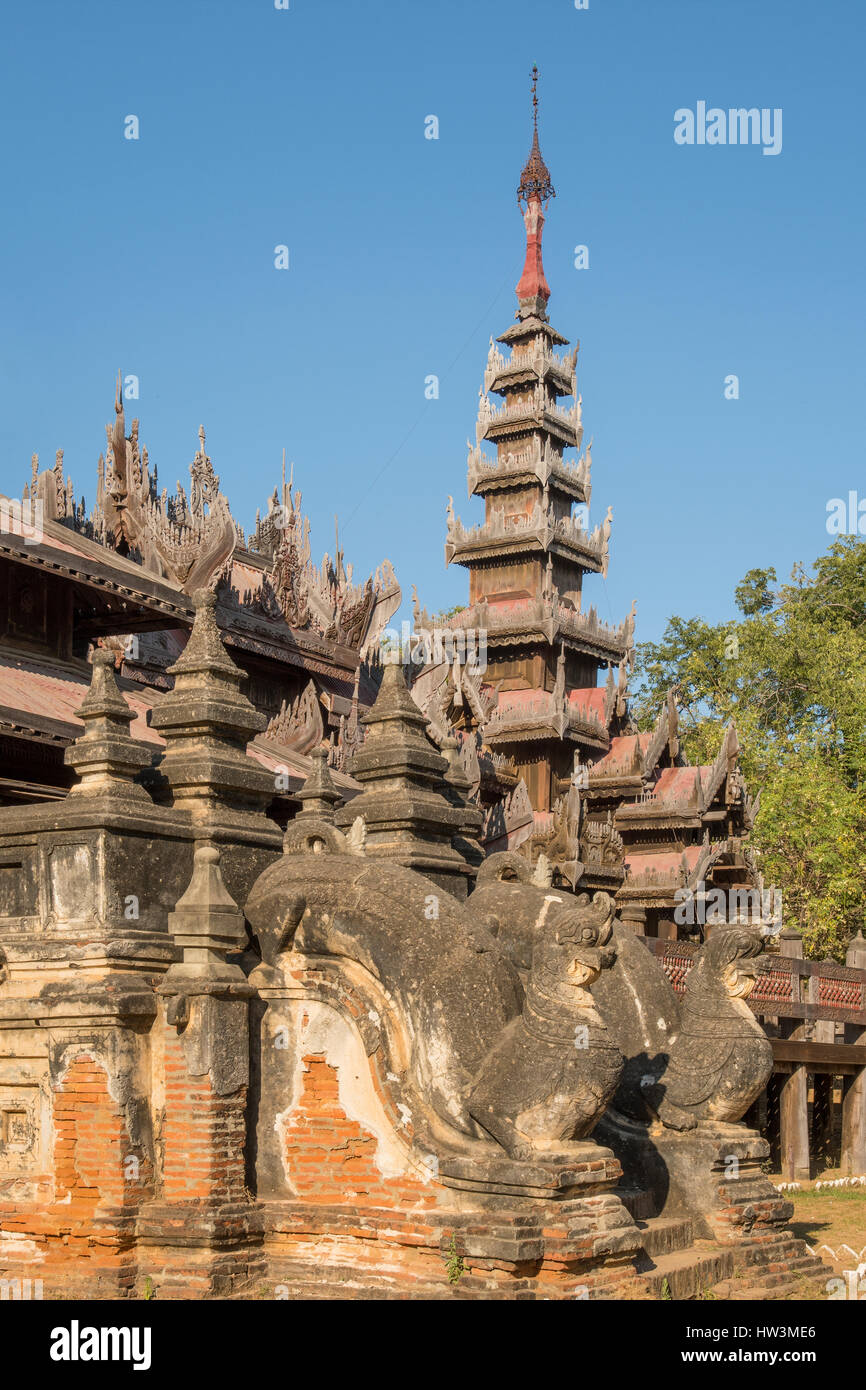 Stone Entrance and Teak Carving on Yoke Sone Kyaung Monastery, Sale, Myanmar Stock Photo