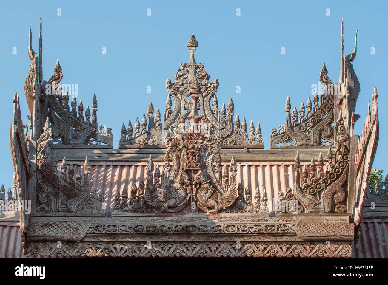 Teak Carving on Yoke Sone Kyaung Monastery, Sale, Myanmar Stock Photo