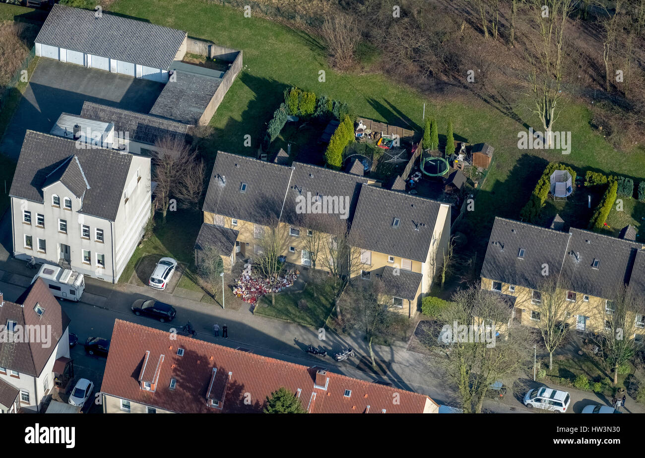 Settlement in Dannenkamp, House of murderer Marcel H. and the nine-year victim, Herne, Ruhr district - Stock Image