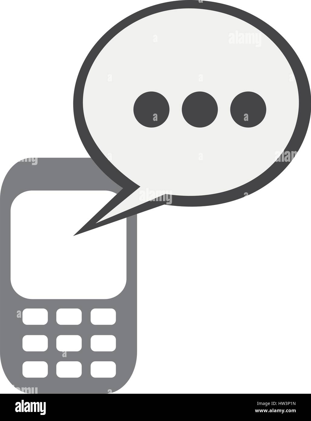 silhouette tech cellphone and dialog box icon flat - Stock Image
