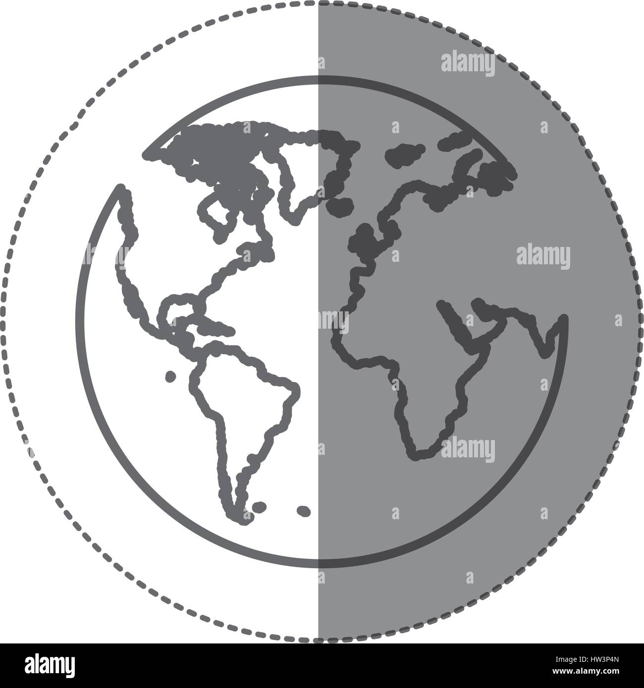 sticker silhouette map of the world icon flat - Stock Vector