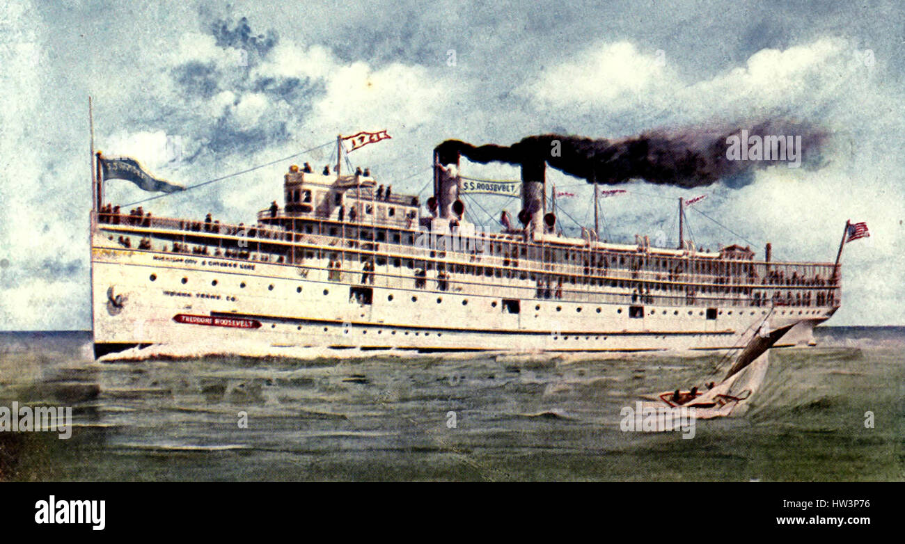 Steamer Theodore Roosevelt - Excursion steamer plying between Chicago and Michigan City, Indiana. It carries 3,500 - Stock Image