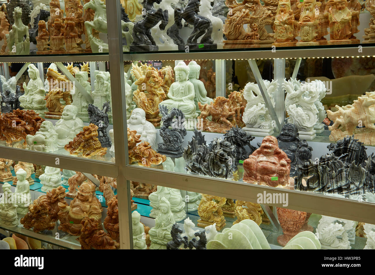 Marble carvings in tourist shop, Marble Mountains, Da Nang, Vietnam - Stock Image