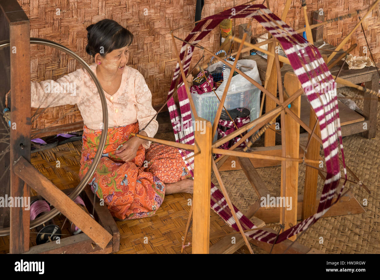 Lotus Silk Weaving Factory, Inle Lake, Myanmar - Stock Image