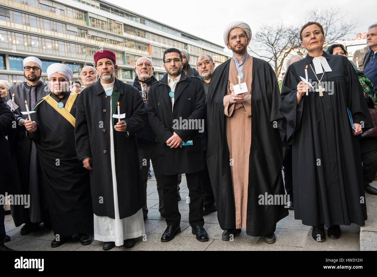 Berlin, Germany. 16th Mar, 2017. Representatives from various religions standing at the memorial for the terror - Stock Image