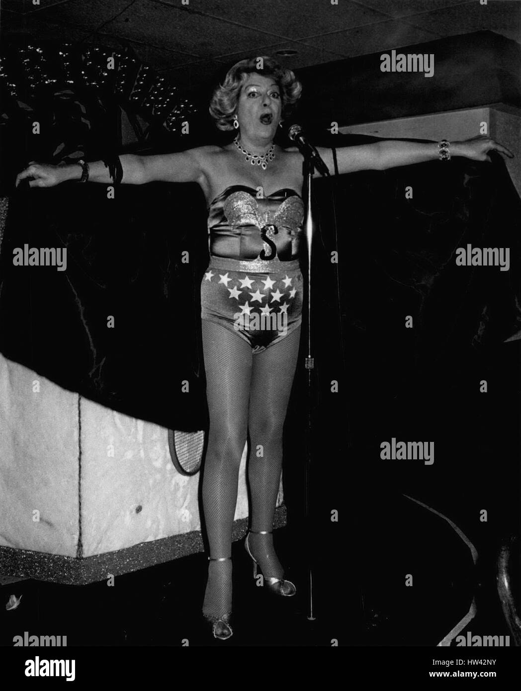 Mar. 05, 1981 - New York City March 5, 1981 - Christine Jorgensen dressed as Superwoman as part of her cabaret act, - Stock Image