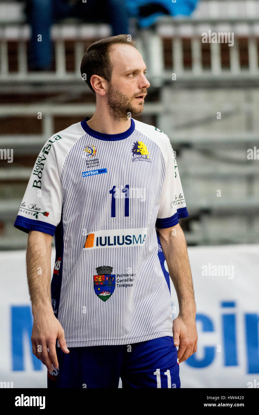 March 15, 2017: Octavian Popa Calota #11 of BC SCM Timisoara  during the LNBM - Men's National Basketball League Stock Photo
