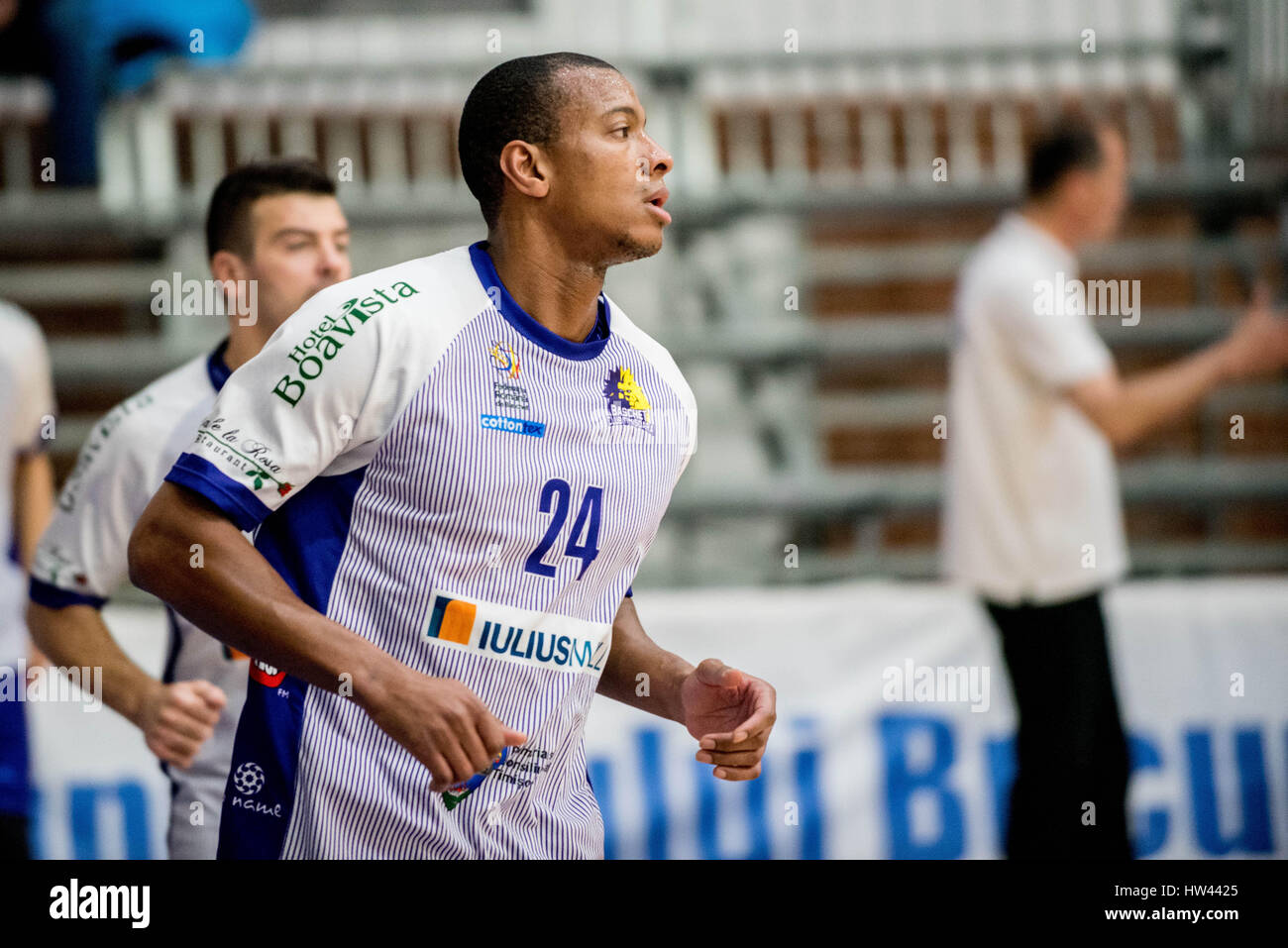 March 15, 2017: Jonte Flowers #24 of BC SCM Timisoara  during the LNBM - Men's National Basketball League game between Stock Photo