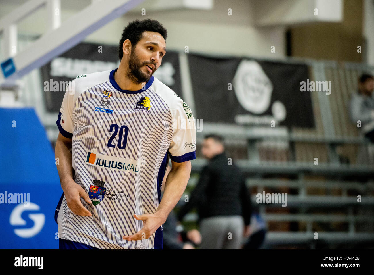 March 15, 2017: Adrian Diaz #20 of BC SCM Timisoara  during the LNBM - Men's National Basketball League game between Stock Photo