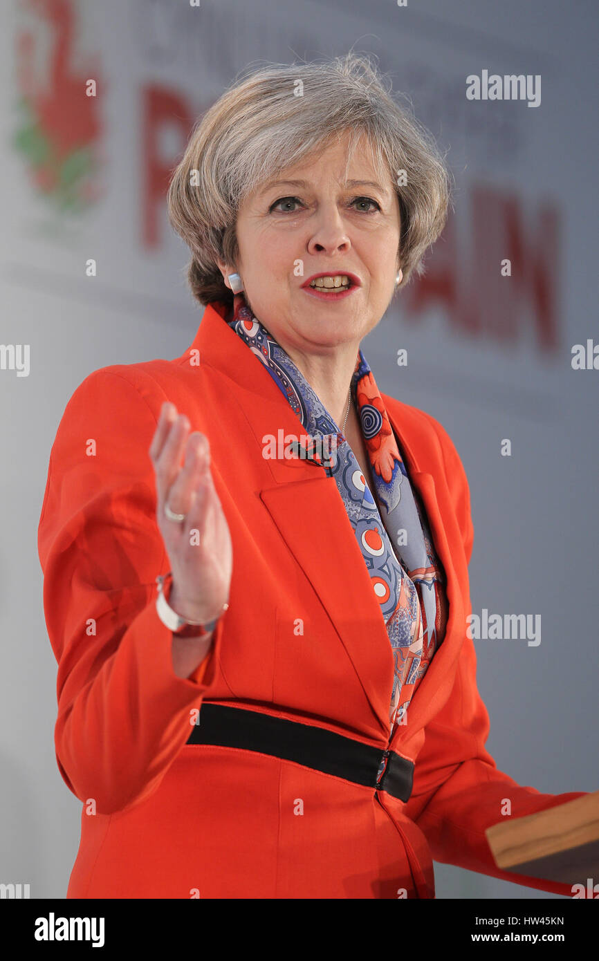 Cardiff, UK, 17th Mar, 2017. The Prime Minister Theresa May speaks at the Conservative Spring Forum taking place - Stock Image