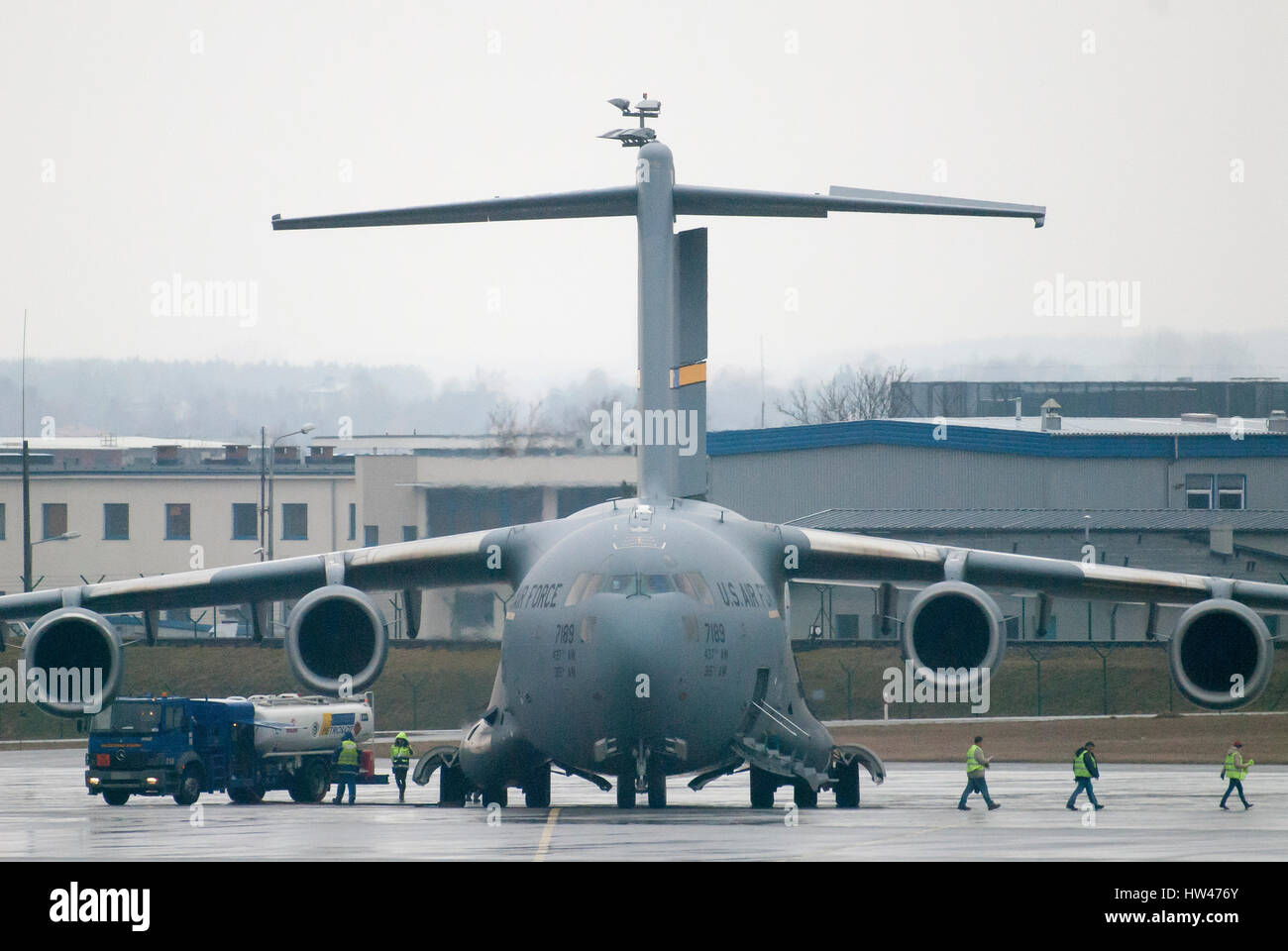 Gdansk, Poland. 17th Mar, 2017. United States Air Force large military transport aircraft Boeing C-17A Globemaster - Stock Image