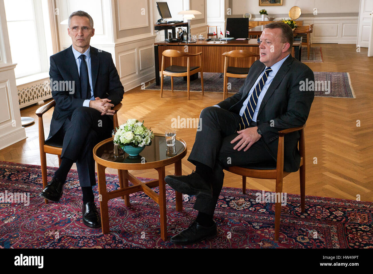 NATO Secretary General Jens Stoltenberg (L) meets Danish Prime Minister Lars Lokke Rasmussen at the PM's office - Stock Image