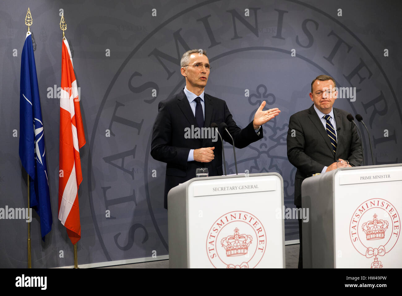NATO Secretary General Jens Stoltenberg (L) speaks at a press conference with Danish Prime Minister Lars Lokke Rasmussen - Stock Image