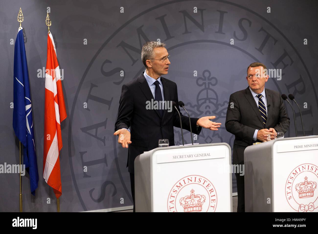 NATO Secretary General Jens Stoltenberg (L) speaks at a press conference with Danish Prime Minister Lars Lokke Rasmussen - Stock Image