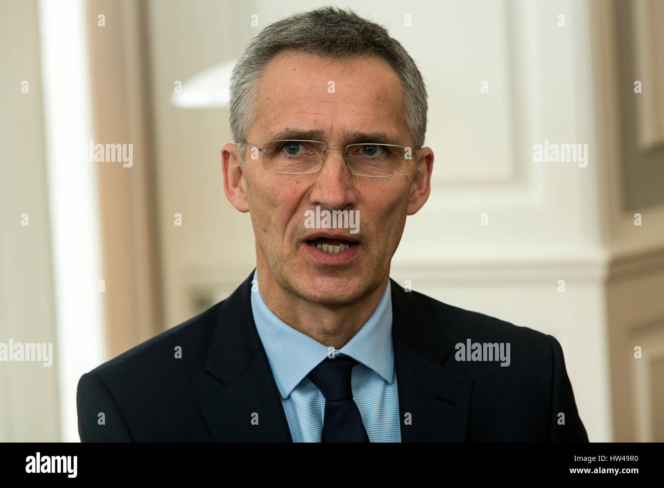 NATO Secretary General Jens Stoltenberg during a press conference with Danish Prime Minister Lars Lokke Rasmussen - Stock Image