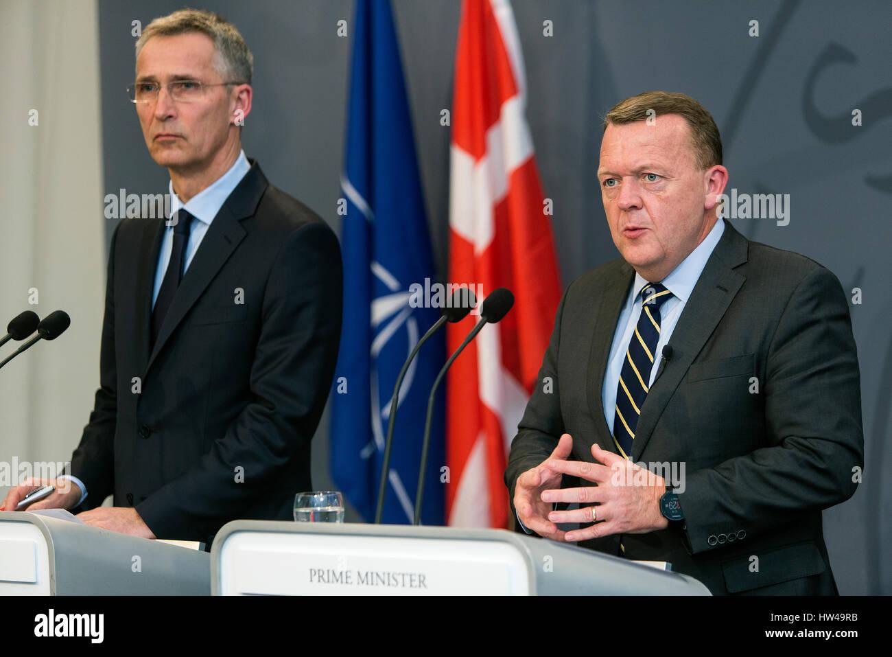 Danish Prime Minister Lars Lokke Rasmussen (R) speaks during a press conference together with NATO Secretary General - Stock Image