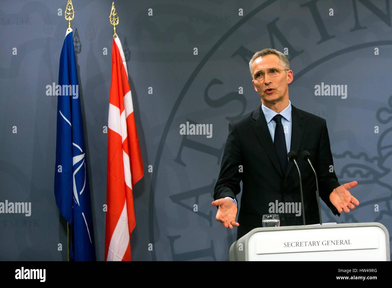 NATO Secretary General Jens Stoltenberg speaks at a press conference with Danish Prime Minister Lars Lokke Rasmussen - Stock Image