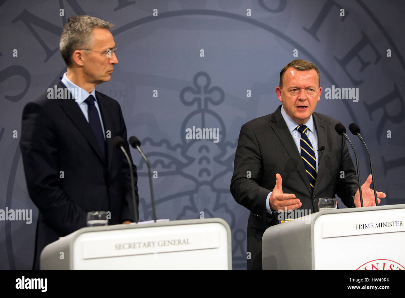 Danish Prime Minister Lars Lokke Rasmussen (R) speaks during a press conference together with NATO Secretary General - Stock Image