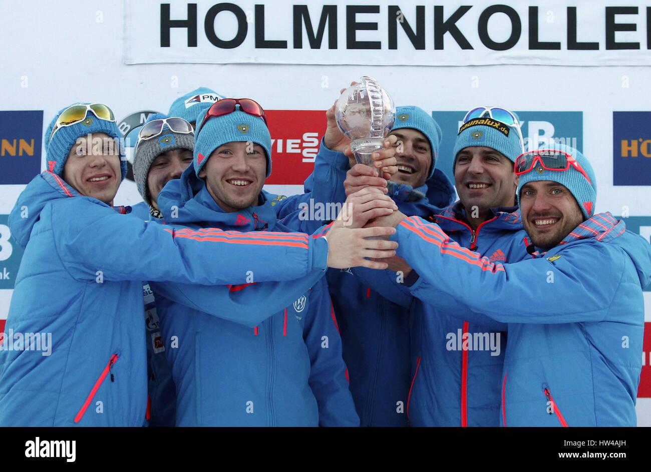 Holmenkollen, Norway. 17th Mar, 2017. Russia's biathletes Igor Malinovsky, Anton Babikov, senior coah Ricco - Stock Image