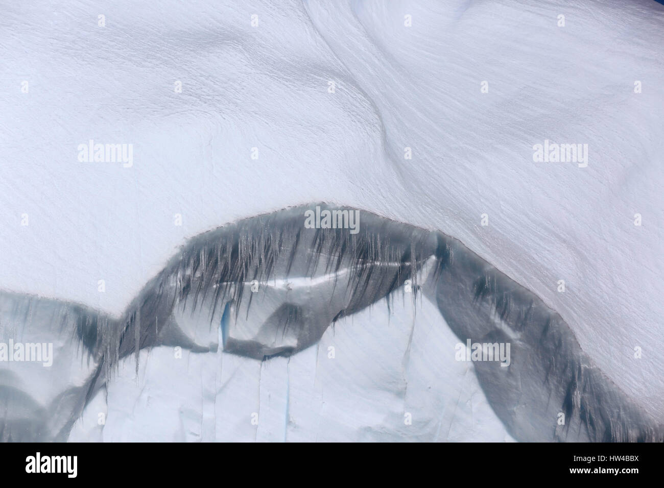 Crystal Sound, Antarctic Peninsula, Antarctica. 18th Jan, 2017. Icicles hang from an iceberg floating in Crystal Stock Photo
