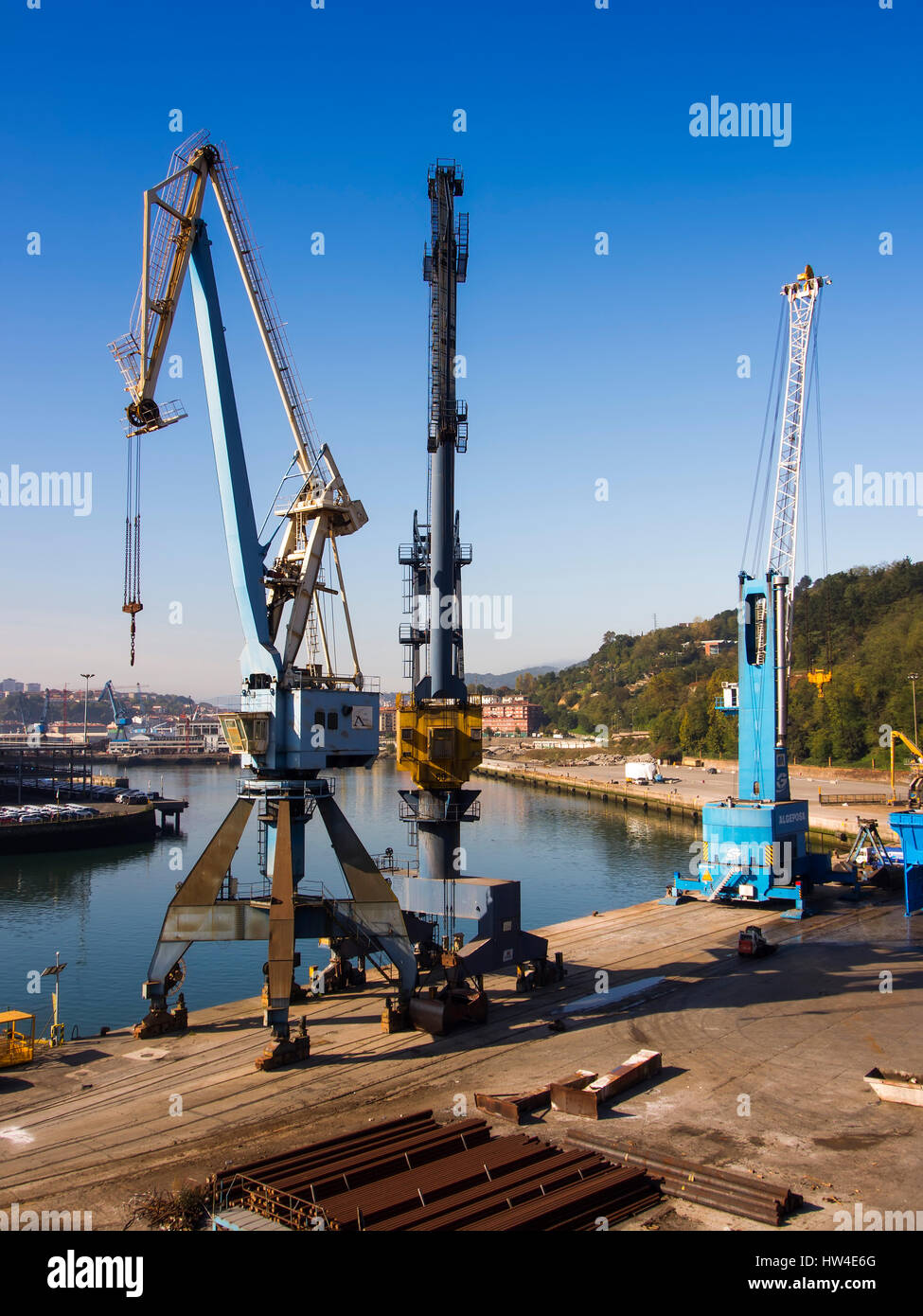 Loading crane, port of Pasajes Gipuzkoa, Basque Country, Spain. Europe - Stock Image