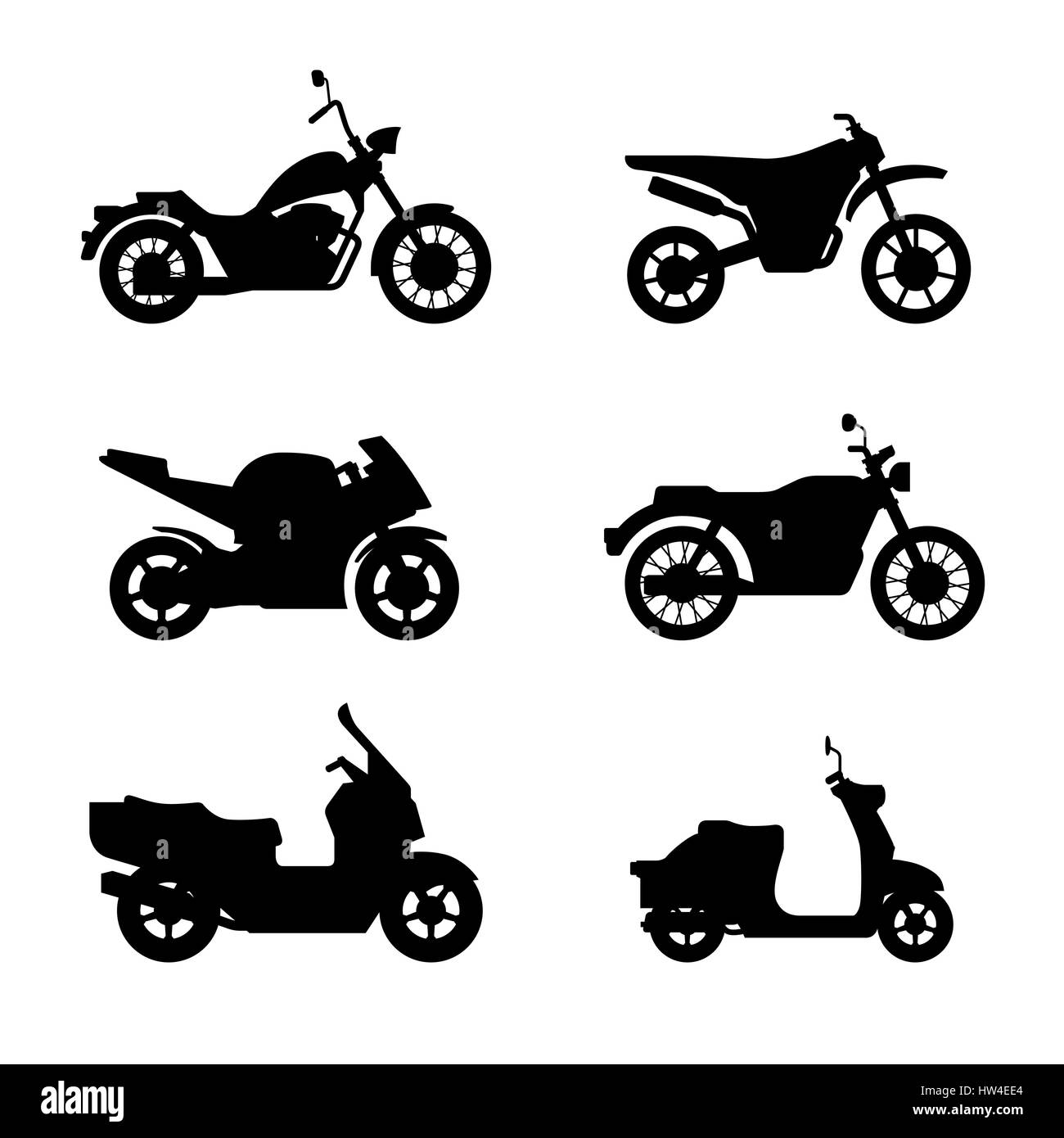 Motorcycles and scooters black silhouettes - Stock Image