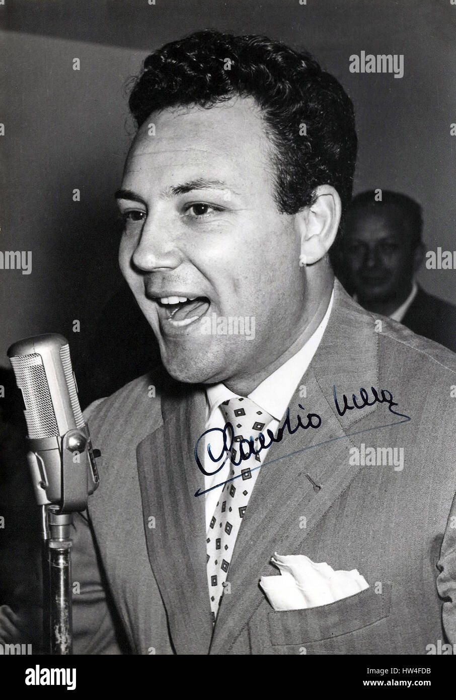 Italian singer Claudio Villa photography with autograph - Stock Image