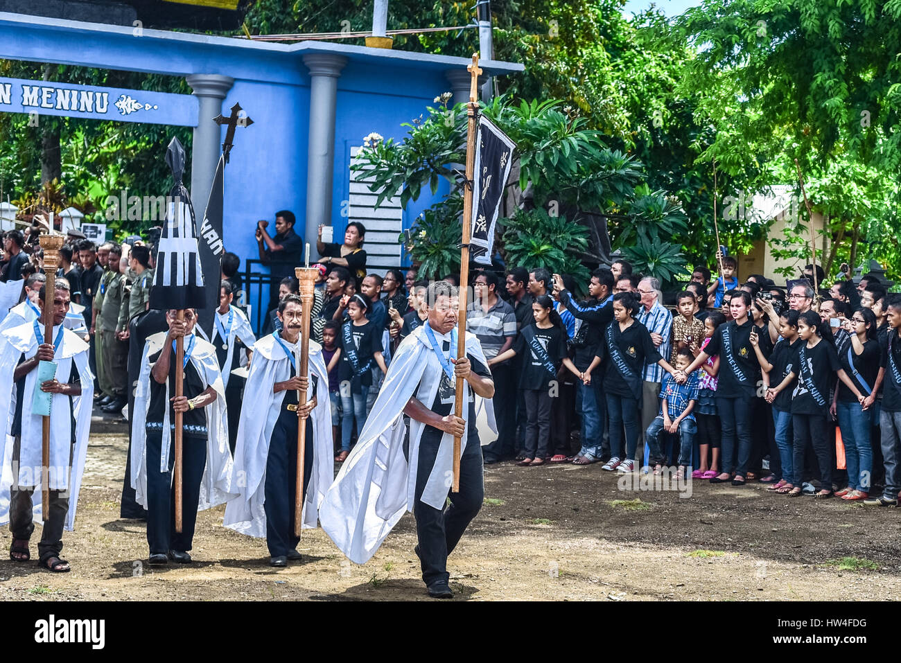 The elders of a local Roman Chatolic chapel march in a Holy Week procession in Larantuka town, Flores, Indonesia. Stock Photo