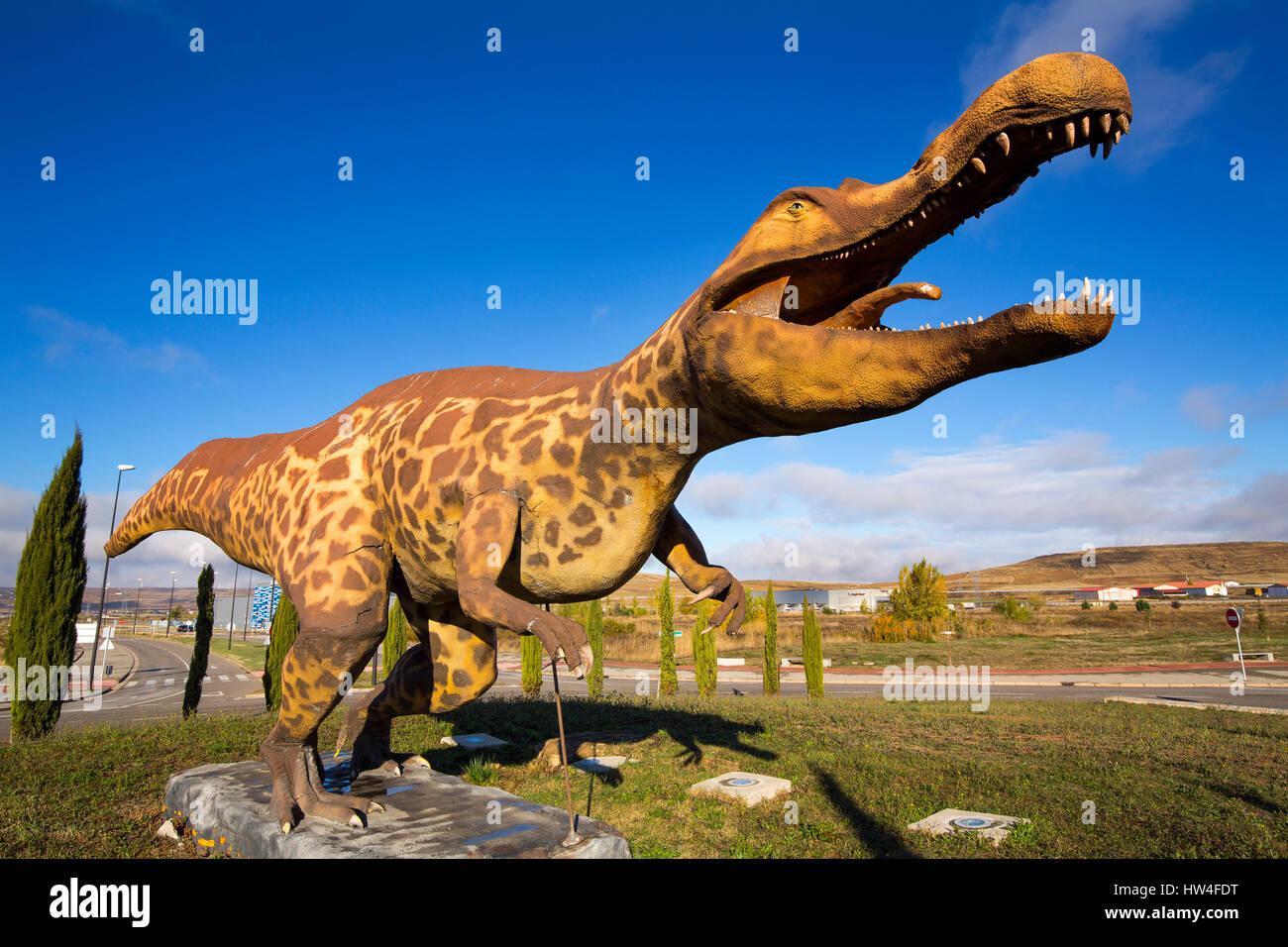 Life size replica of dinosaur in Burgos, Castilla-Leon, Spain Europe - Stock Image