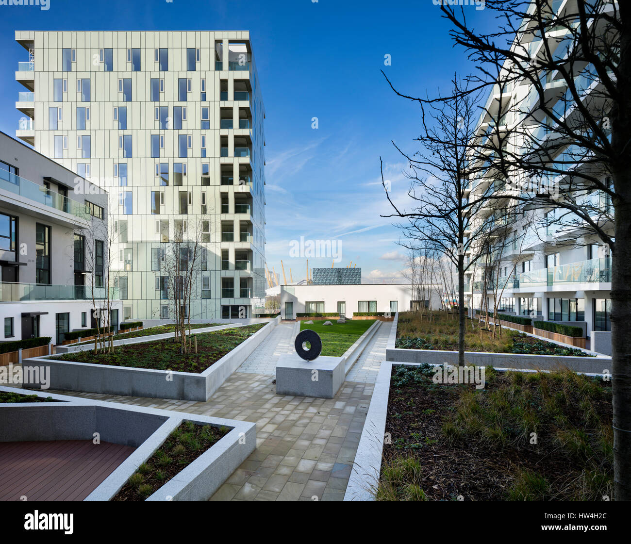 Exterior view of a building of the Greenwich Peninsular development and regeneration program, London, UK. Stock Photo