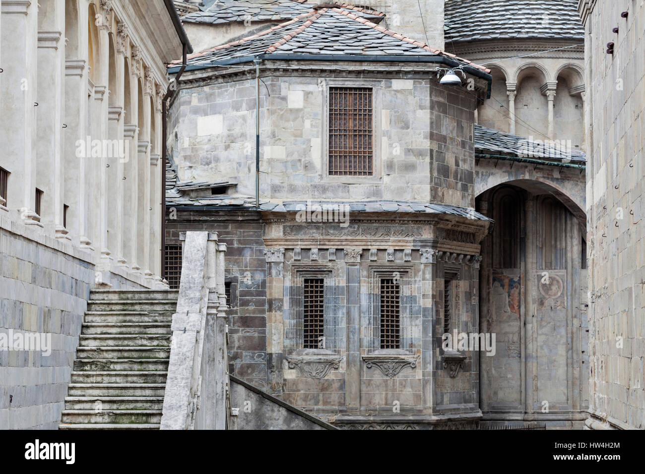 Medieval buildings in Bergamo old town, Lombardy, Italy. - Stock Image