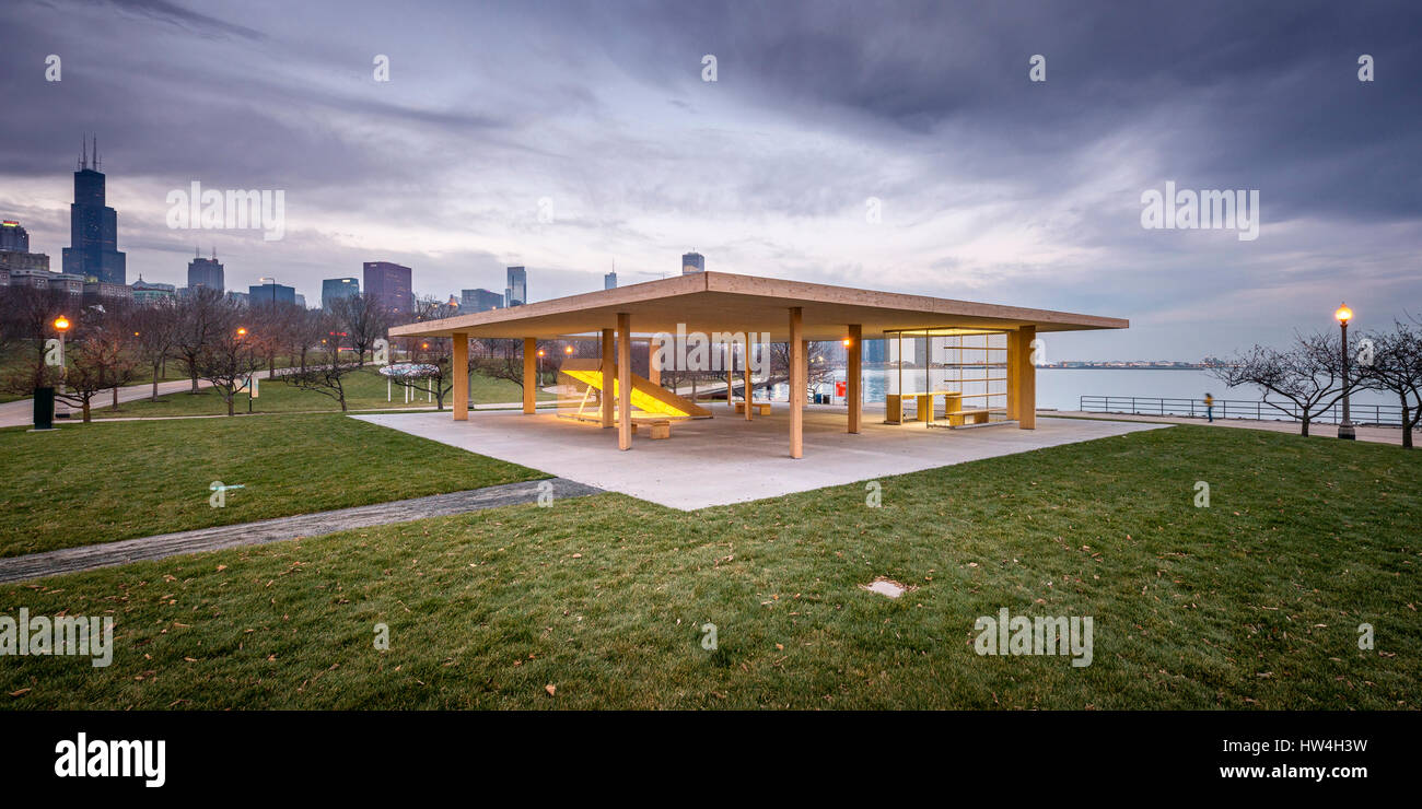 Lakefront Kiosk, Chicago Architecture Biennial by Ultramoderne in Chicago, USA. - Stock Image