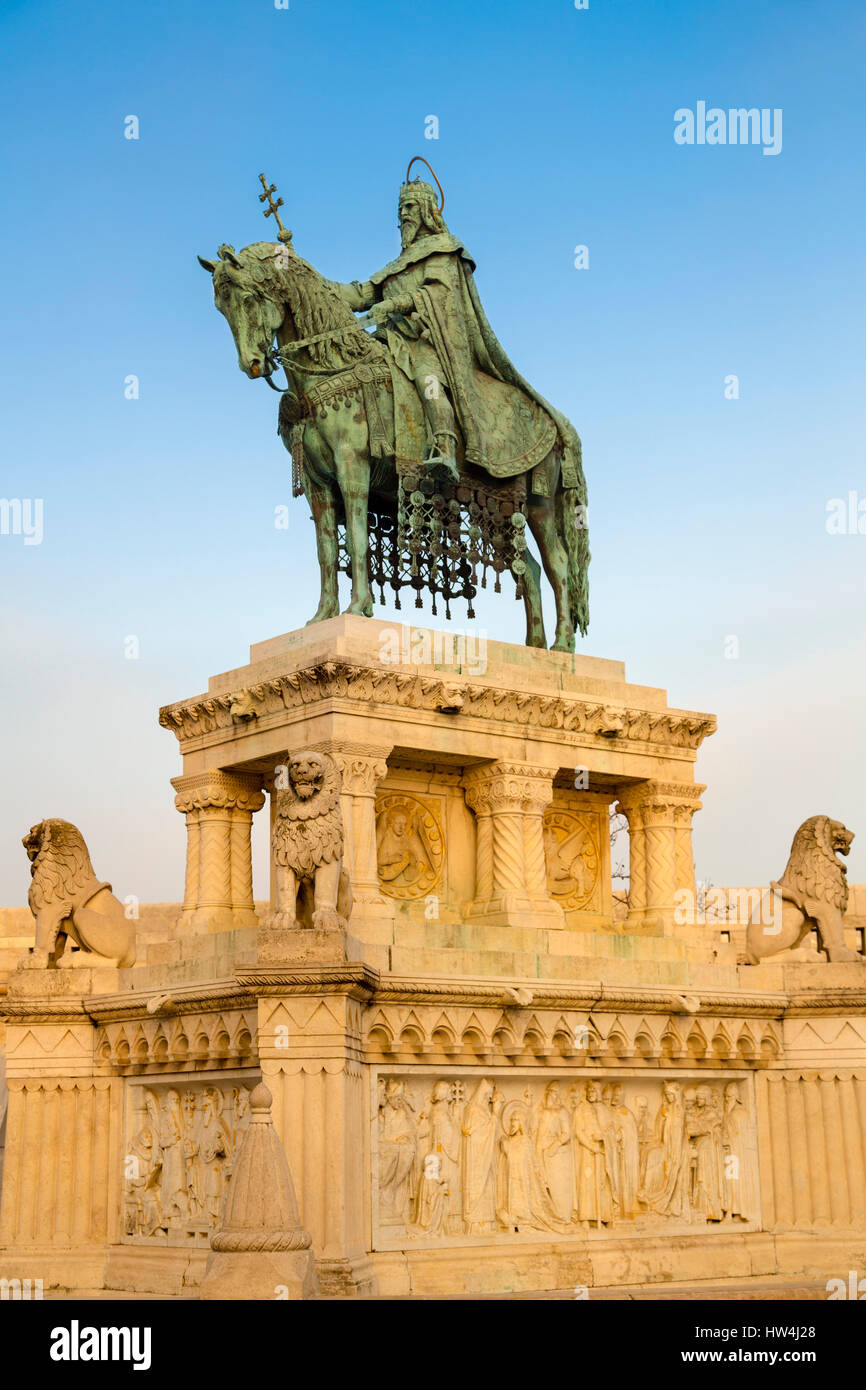 Statue of King Istvan Stephan, Fisherman's Bastion. Buda Castle Hill District. Budapest Hungary, Southeast Europe Stock Photo